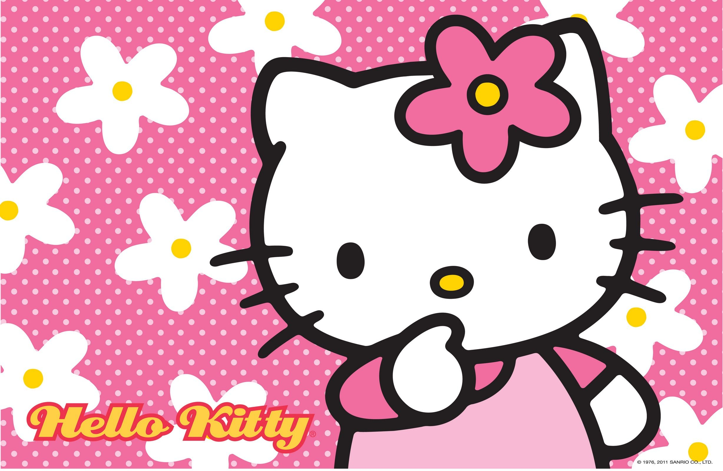 Hello Kitty Wallpaper with Floral Pink Background  Hello kitty