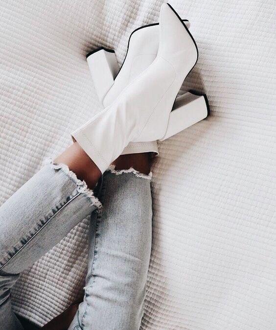 Zapatos botas | Botas zapatos | Tacones | Tacones Tacón bloque Botas blancas con ...