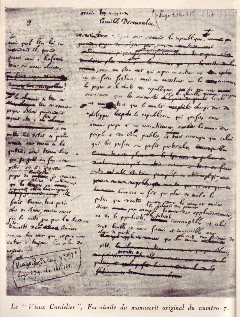 Le Vieux Cordelier Facsimile Du Manuscrit Original Du Numero 7 Revolution Francaise Camille Desmoulins Revolution