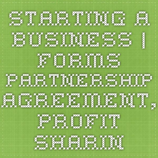 Starting A Business Forms - Partnership Agreement, Profit Sharing - Sample Partnership Agreement
