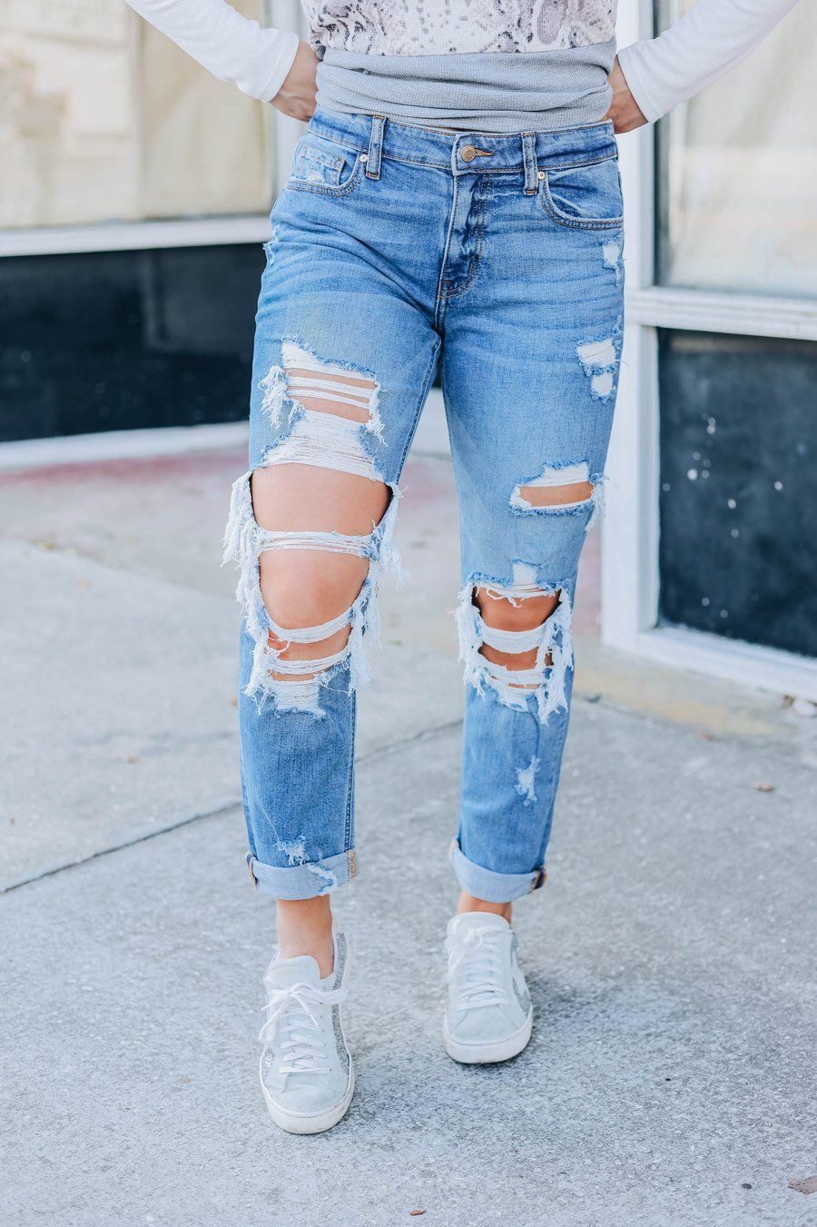 Skylar Girlfriend Jeans - Medium Wash