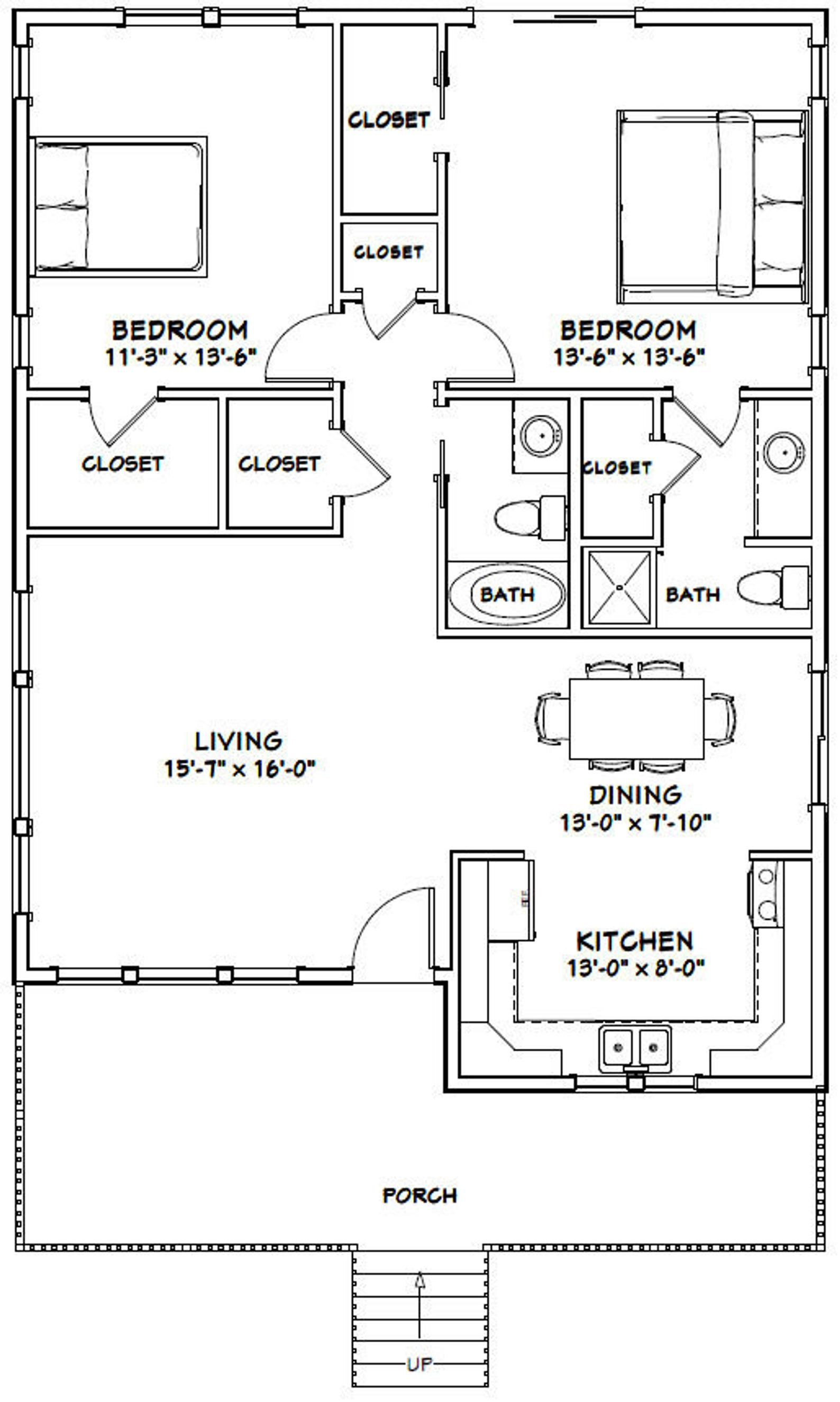 30x40 House 2 Bedroom 2 Bath 1 136 Sq Ft Pdf Floor Plan Instant Download Model 1b Small House Floor Plans 30x40 House Plans Two Bedroom House