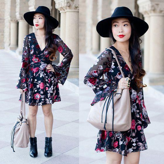 Forever 21 Wide Brim Fedora Hat, Lulu's Velvet Floral Dress, Foley + Corinna Becker Bag, Target Croc Ankle Boots