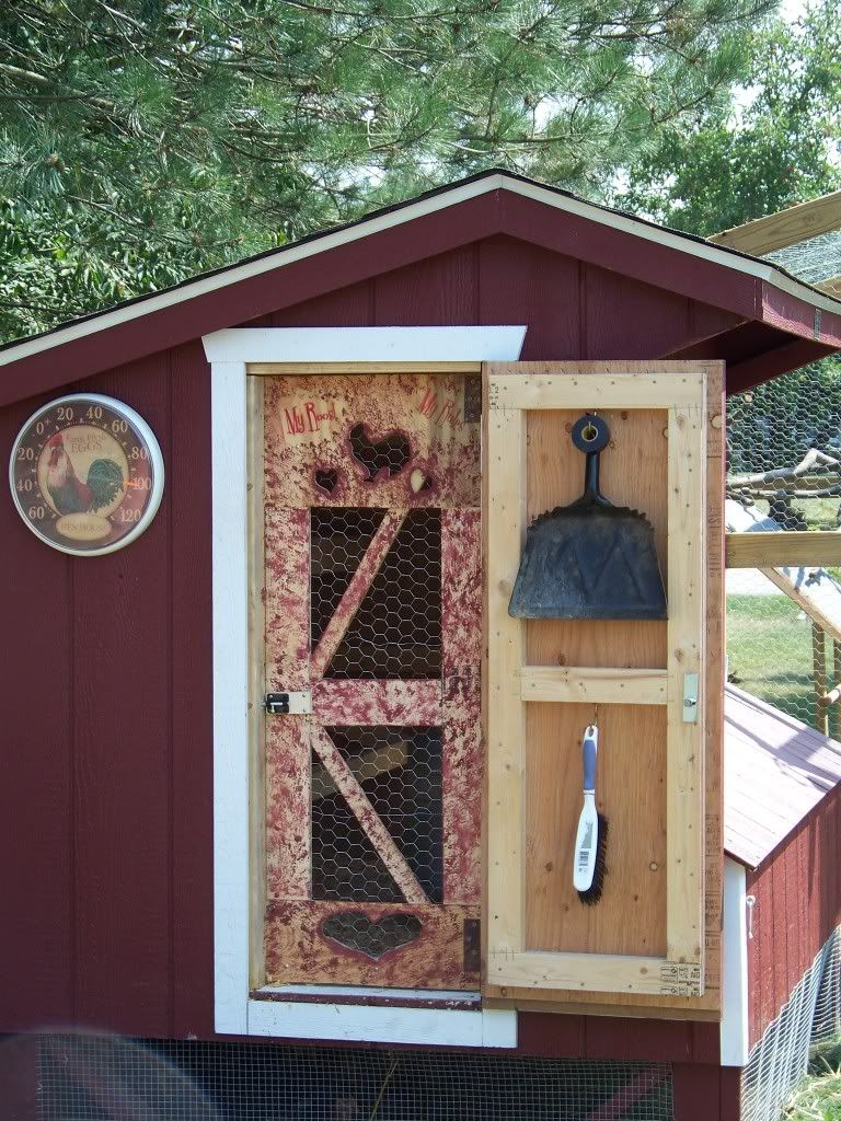 nice diy idea hang cleaning items on inside of hen house door to