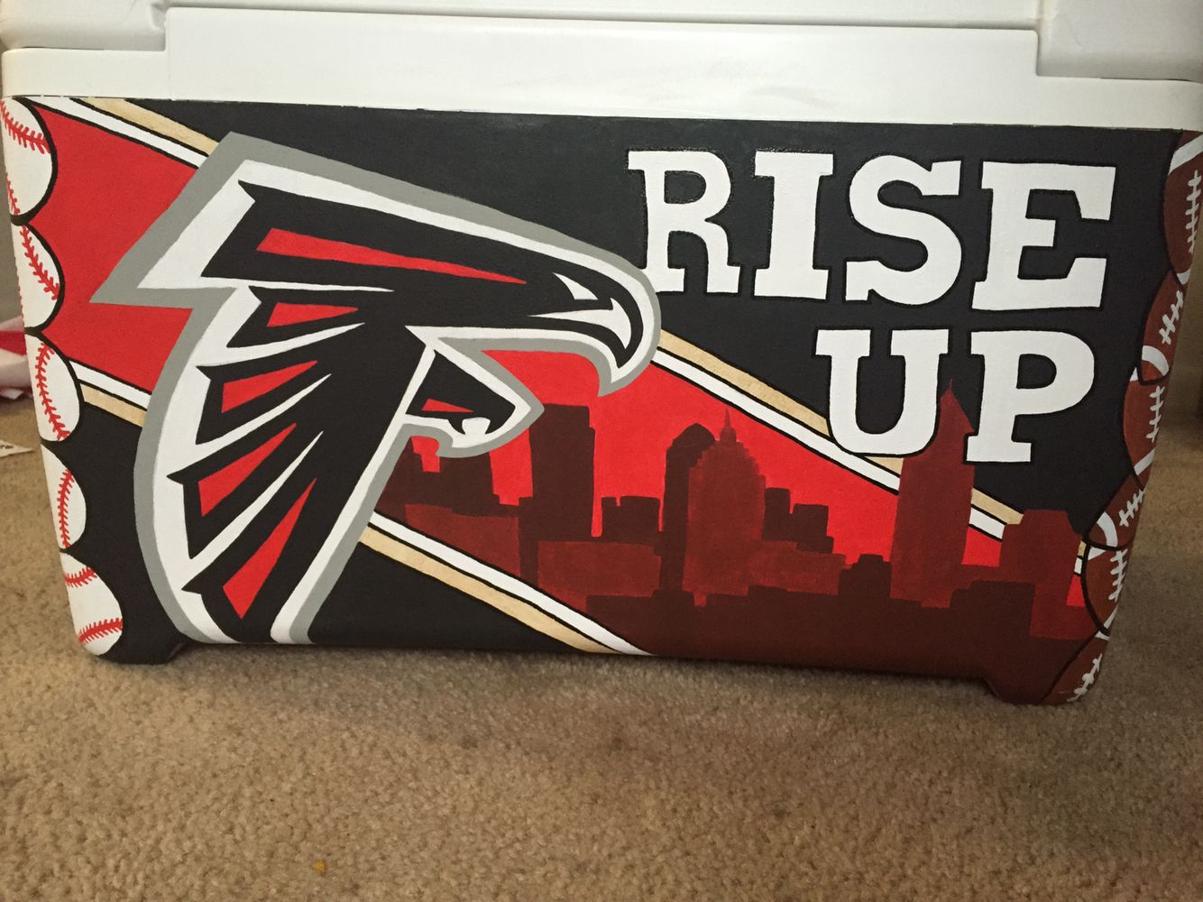 Atlanta Falcons Painted Cooler With Images Atlanta Falcons Painting Cooler Painting Atlanta Falcons Art