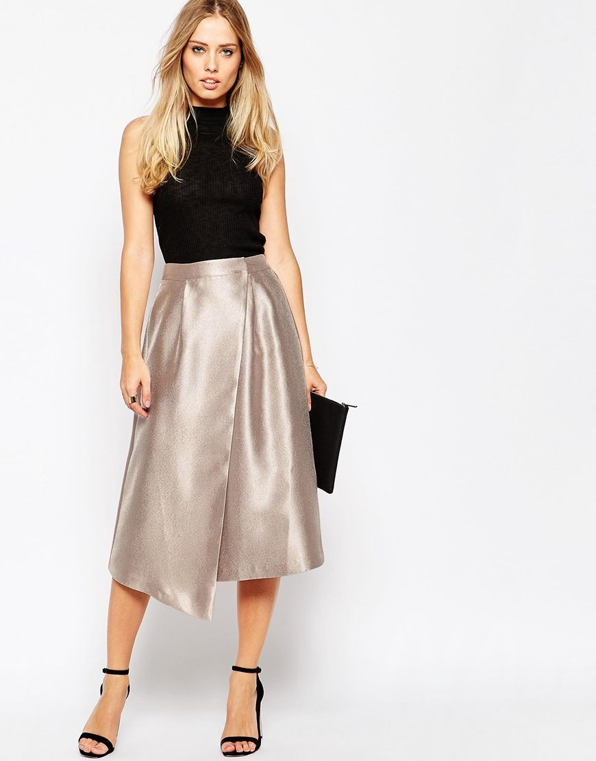 975a8701b8 Image 1 of ASOS Midi Skirt with Asymmetric Wrap Full Midi Skirt, White Midi  Skirt
