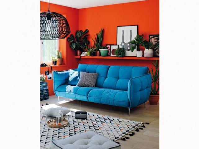 Mur orange petit salon Petits espaces Small spaces Pinterest