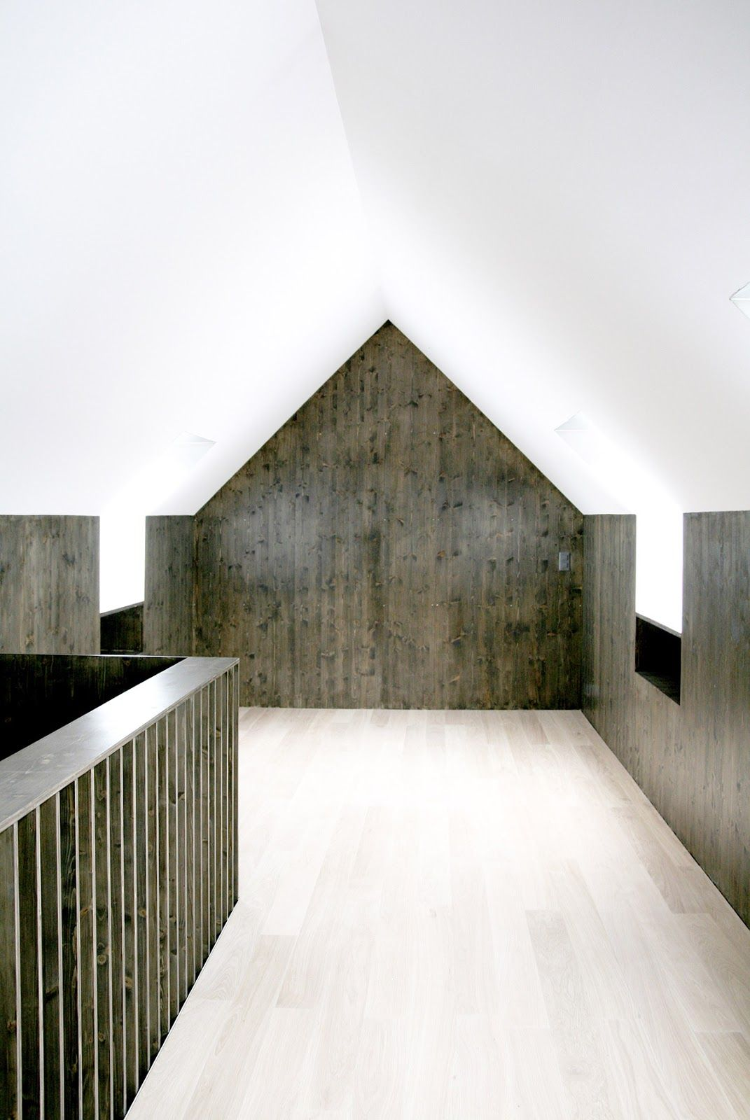 dark and light wood with white plaster. nice. house renovation