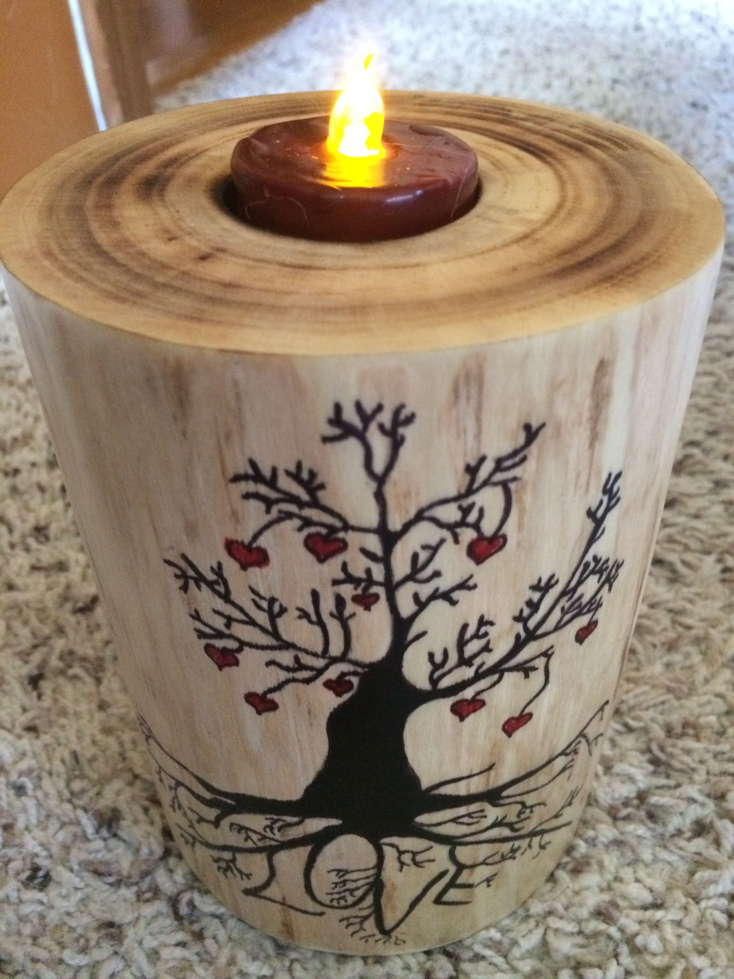 Candle Containers, Tea Light Holder, Pyrography, Candle Holders, Robin, Candles,