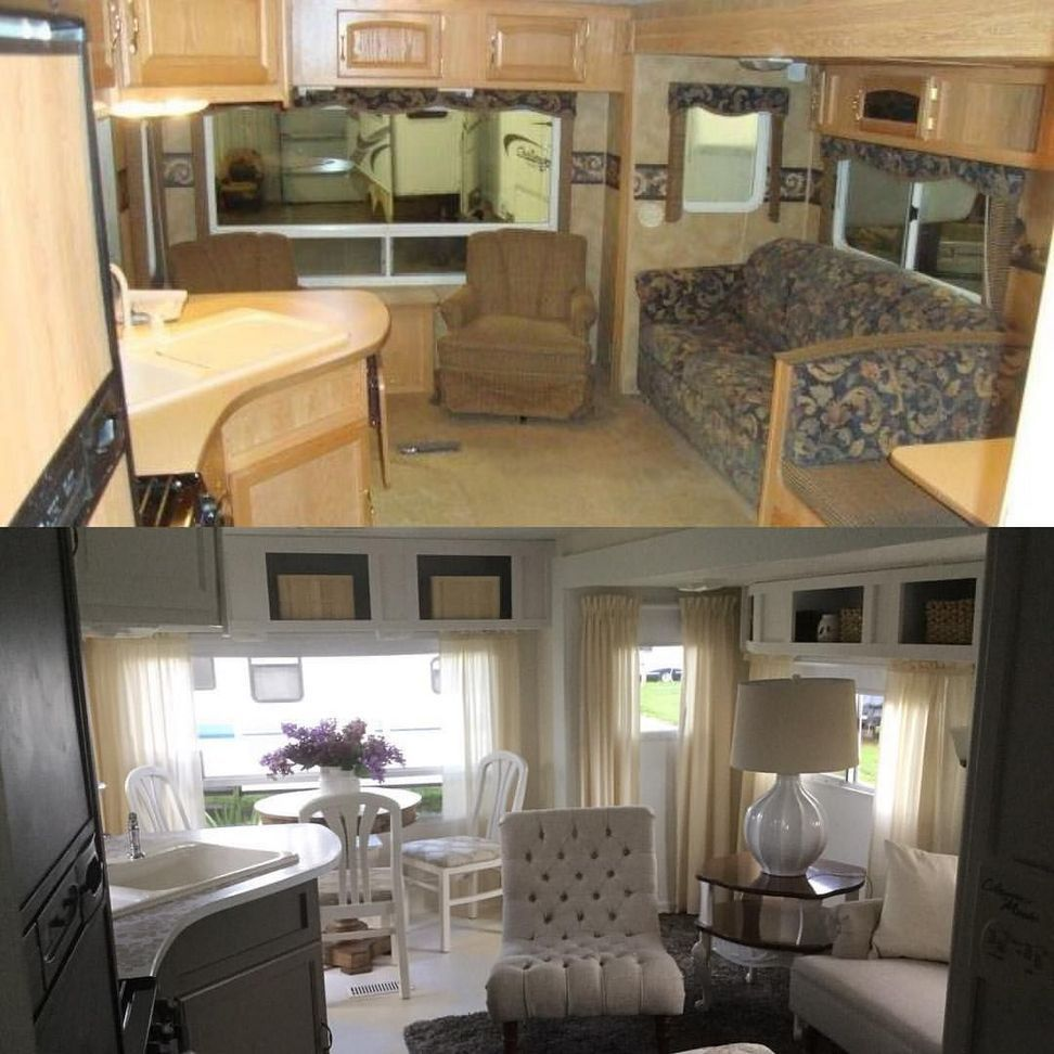 dramatic rv camper makeover for full time traveling rv renovations rh pinterest com