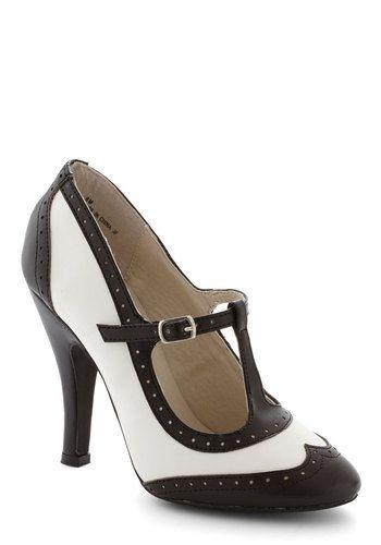 Speakeasy Does It Heel High Black White Solid Party Vintage Inspired 20s 30s T Strap Vintage Heels Heels Vintage Shoes