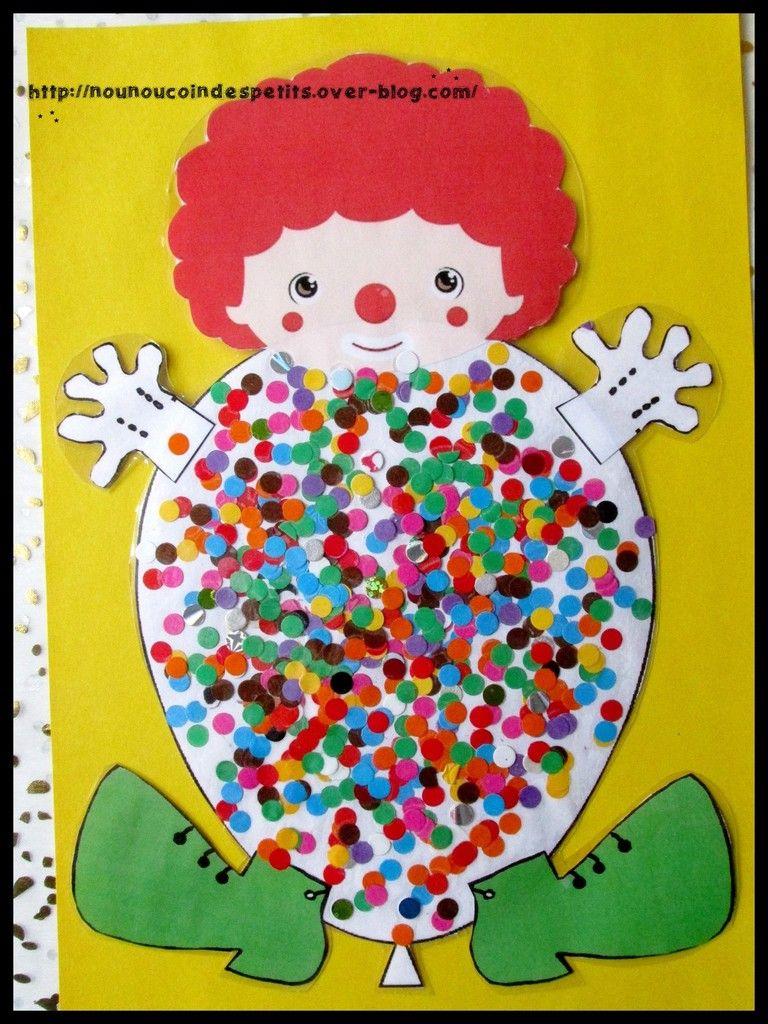 ballon clown confettis ecole carnaval bricolage. Black Bedroom Furniture Sets. Home Design Ideas