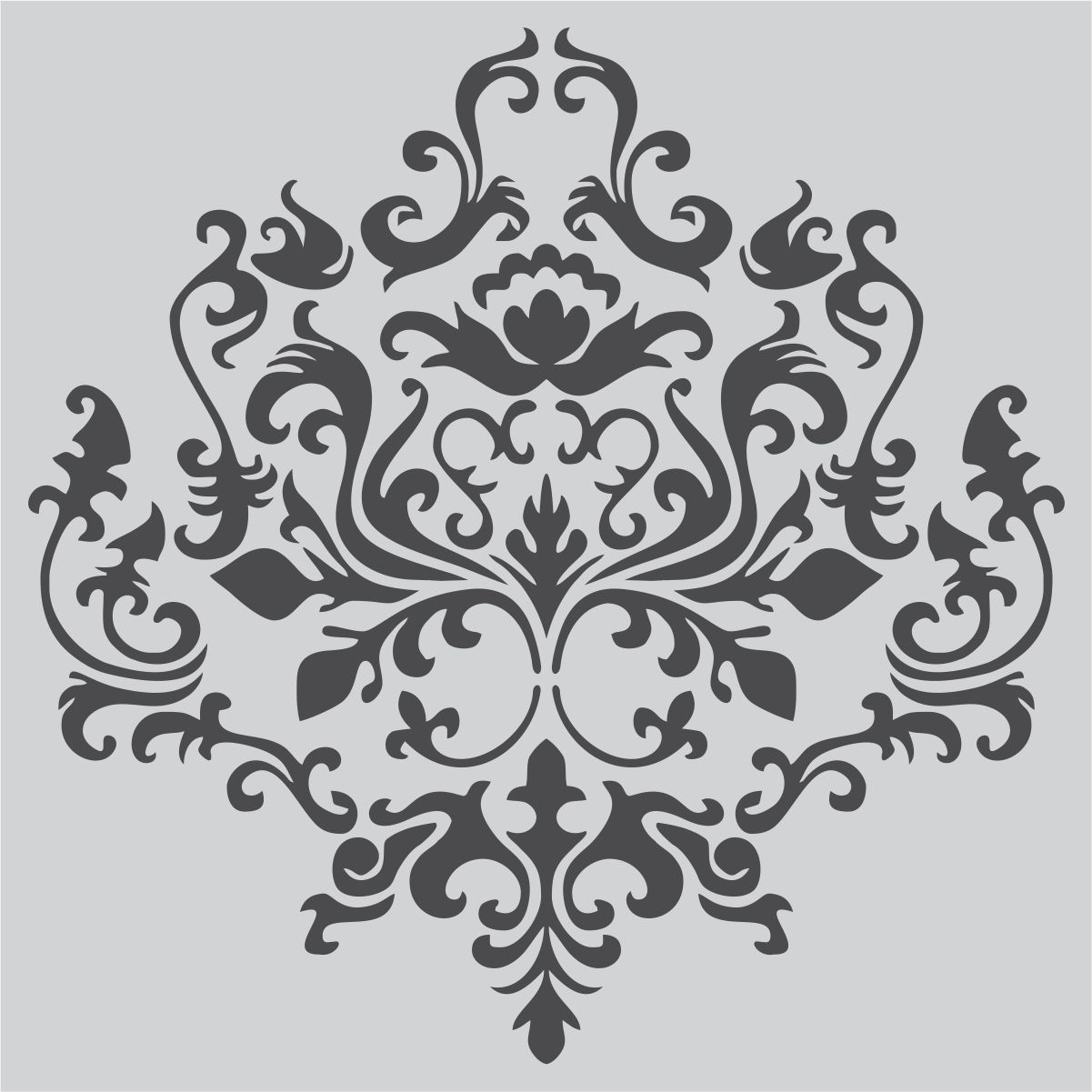 Pochoir Mandala Mural Damask Wall Stencil Choose Your Size Faux Mural Pattern