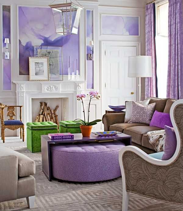 22 Modern Interior Design Ideas With Purple Color Cool Interior Colors Colorful Living Room Design Colourful Living Room Living Room Designs