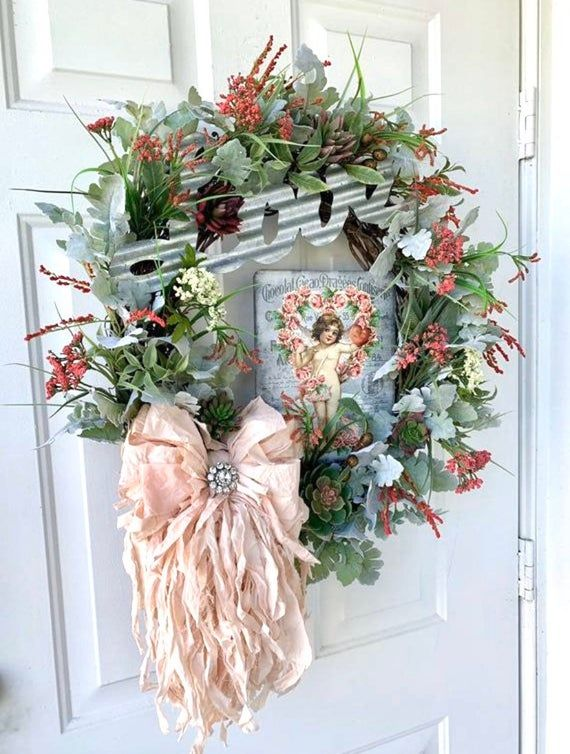 Photo of Victorian Valentine's Day Wreath for Front Door, Cupid Hearts Metal Sign, Love Sign, Succulents, Hom