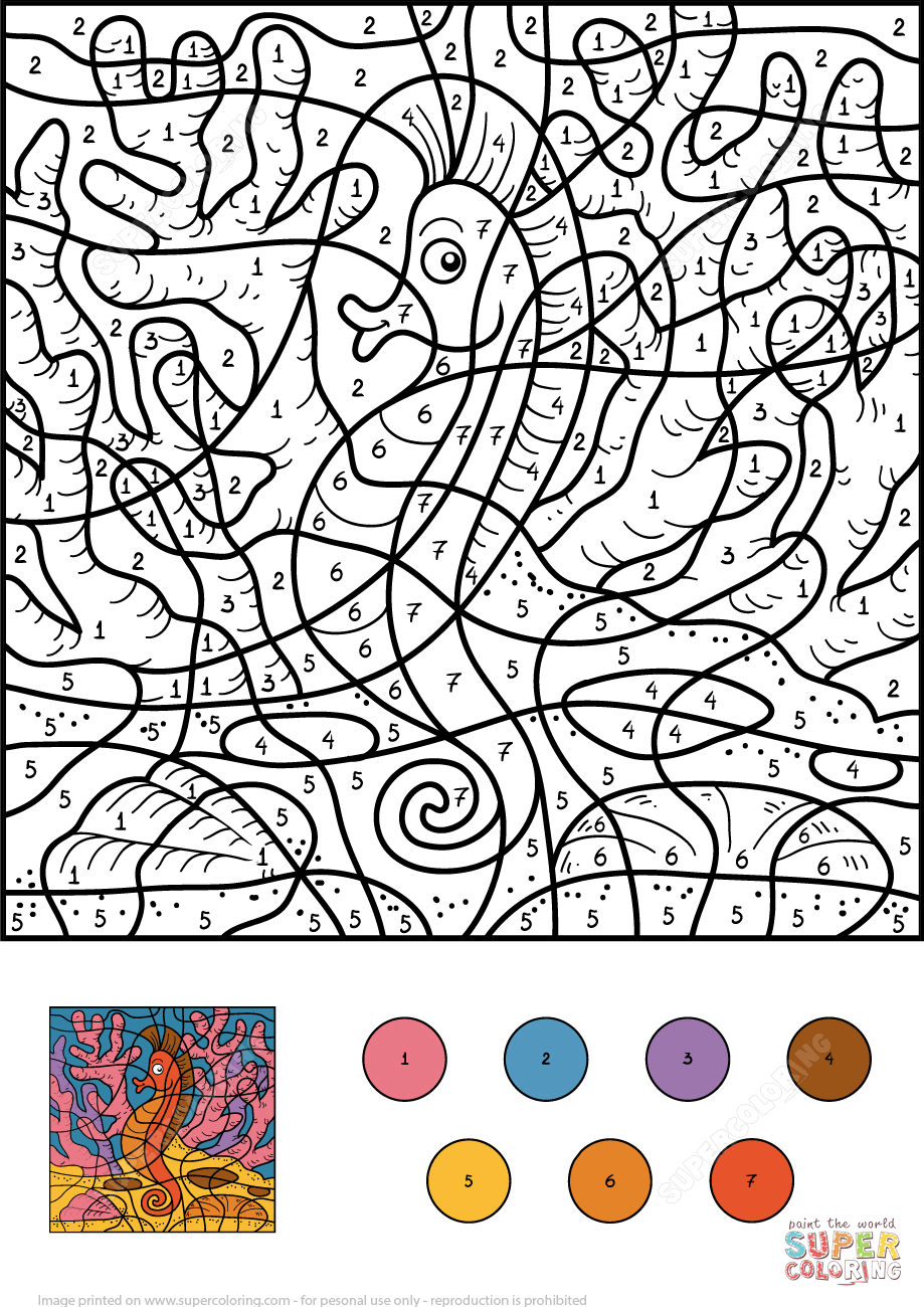 Seahorse Color By Number From Color By Number Worksheets Category Select From 27278 Printable Crafts Of Cartoon Coloring Books Color By Numbers Coloring Pages