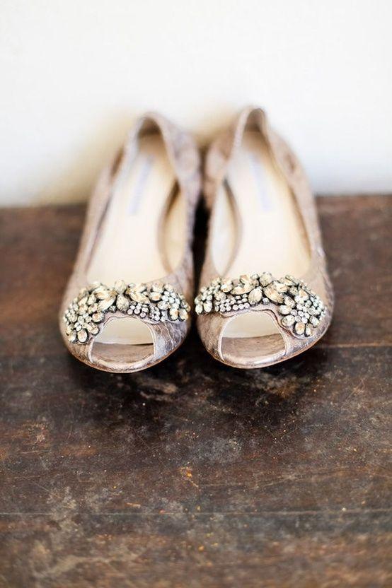 Flat wedding shoes.. Not a massive fan of a flat peep toe but these ...