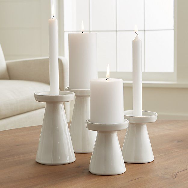 Marin White Taper Pillar Candle Holders Crate And Barrel Pillar Candle Holders Clay Candle Holders Pottery Candle Holder