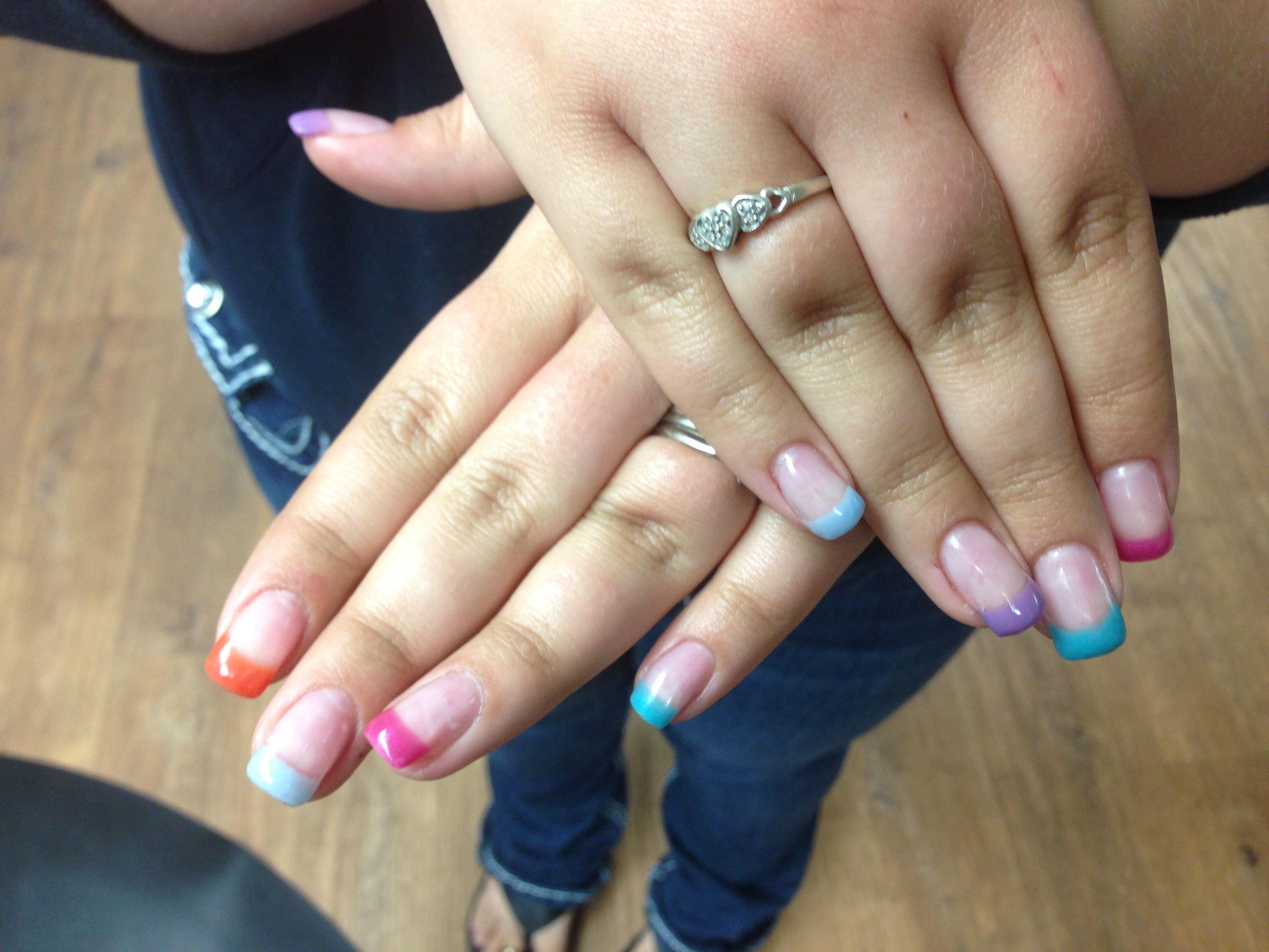 Sams Multi Coloured Tips Gel Nail Art Nails Ive Done