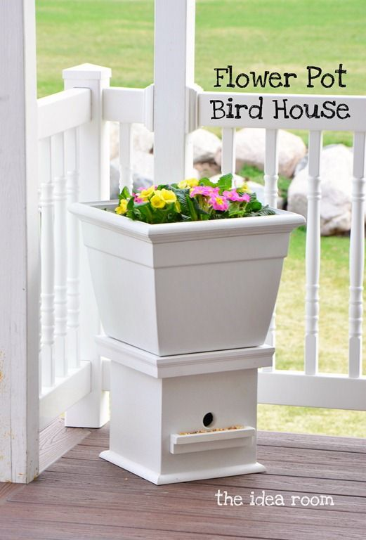 Flower Planter Bird House via Amy Huntley (The Idea Room)