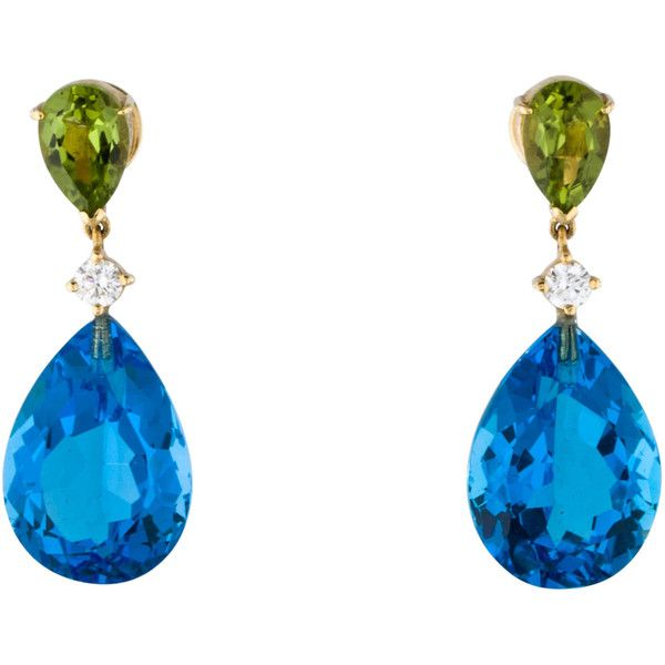 Pre-owned Diamond & Gemstone Drop Earrings ($3,150) ❤ liked on Polyvore featuring jewelry, earrings, blue, blue diamond earrings, blue diamond jewelry, diamond jewelry, diamond earrings and gemstone jewelry