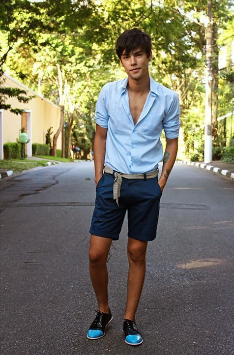 Men's Light Blue Dress Shirt, Navy Shorts, Aquamarine Leather ...