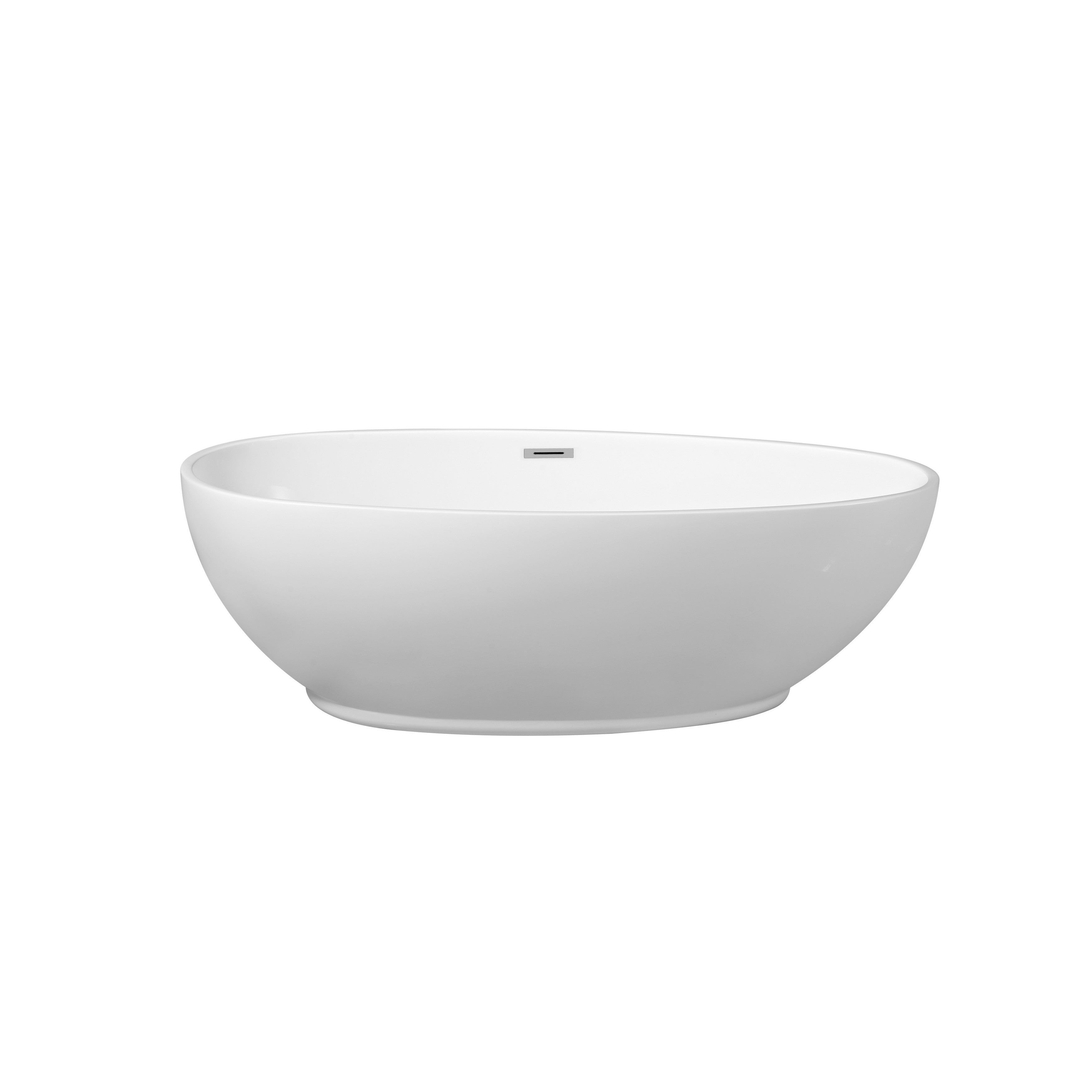 Streamline White 63-inch Soaking Free Standing Tub with Internal ...