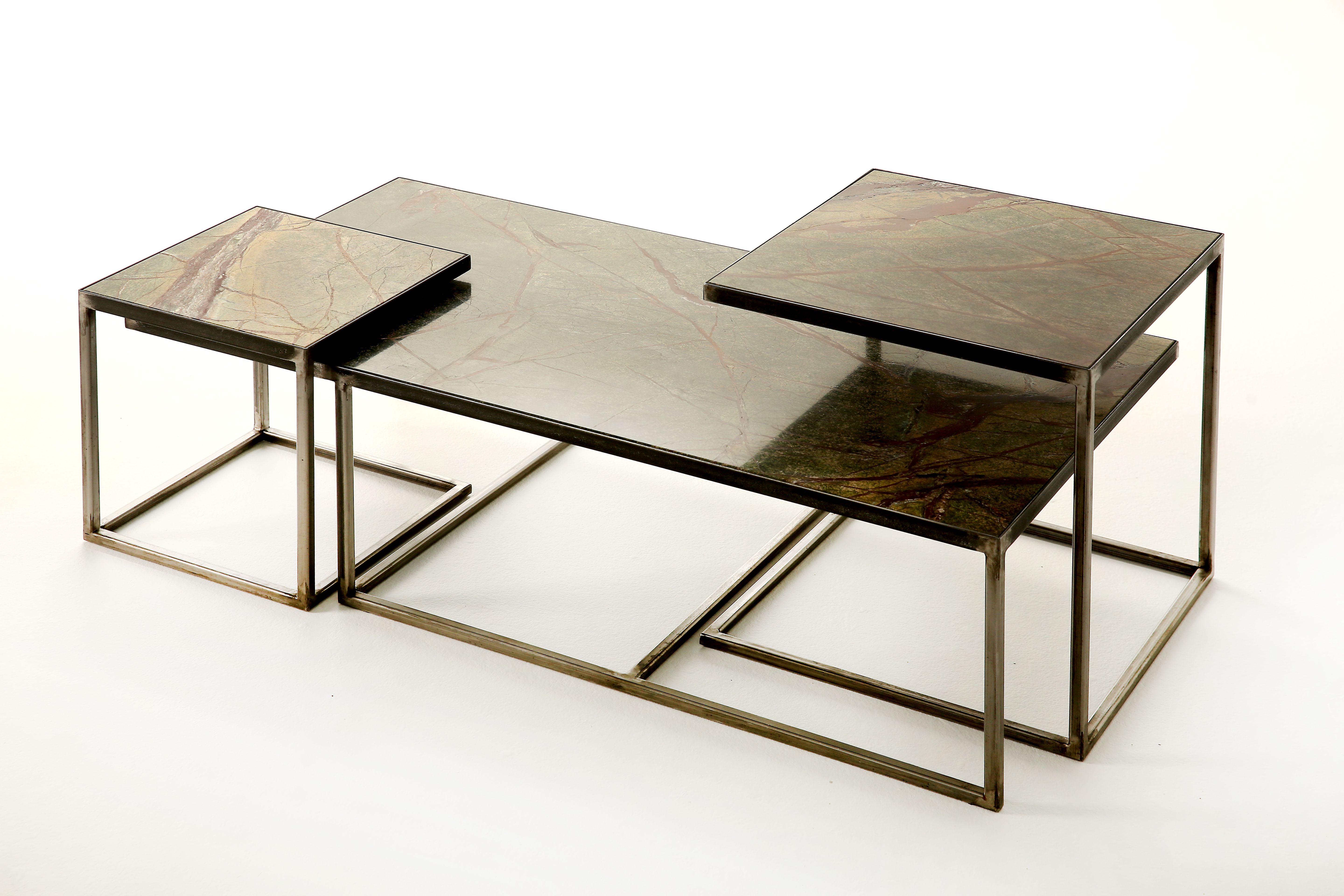 Table by Armand&Francine Steel and marble