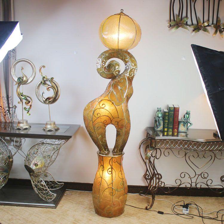Elephant Lamp, White Elephant, Rattan Floor Lamp, Floor Lamps, Torchiere Floor  Lamp, Lamp Bases, Furniture Vintage, El Dorado, Standing Lamps