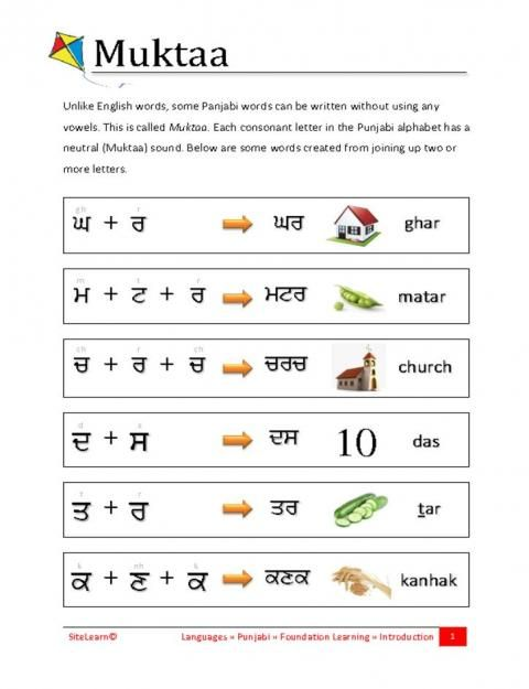 Recognise and read basic written Punjabi words written