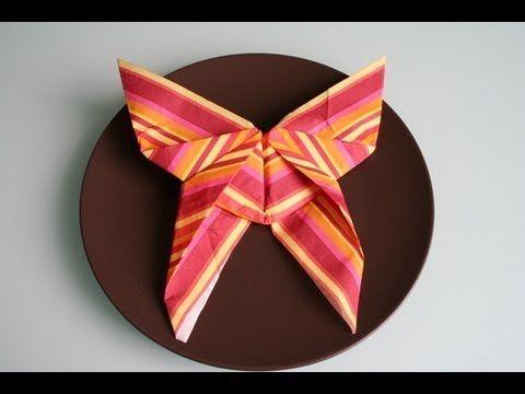 Servietten falten schmetterling napkin folding butterfly for Anleitung servietten falten