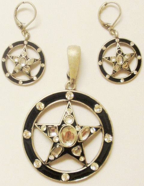 36802cedf (CSC750-BKST) Western Black Stars & Circles Pendant and Matching Earrings