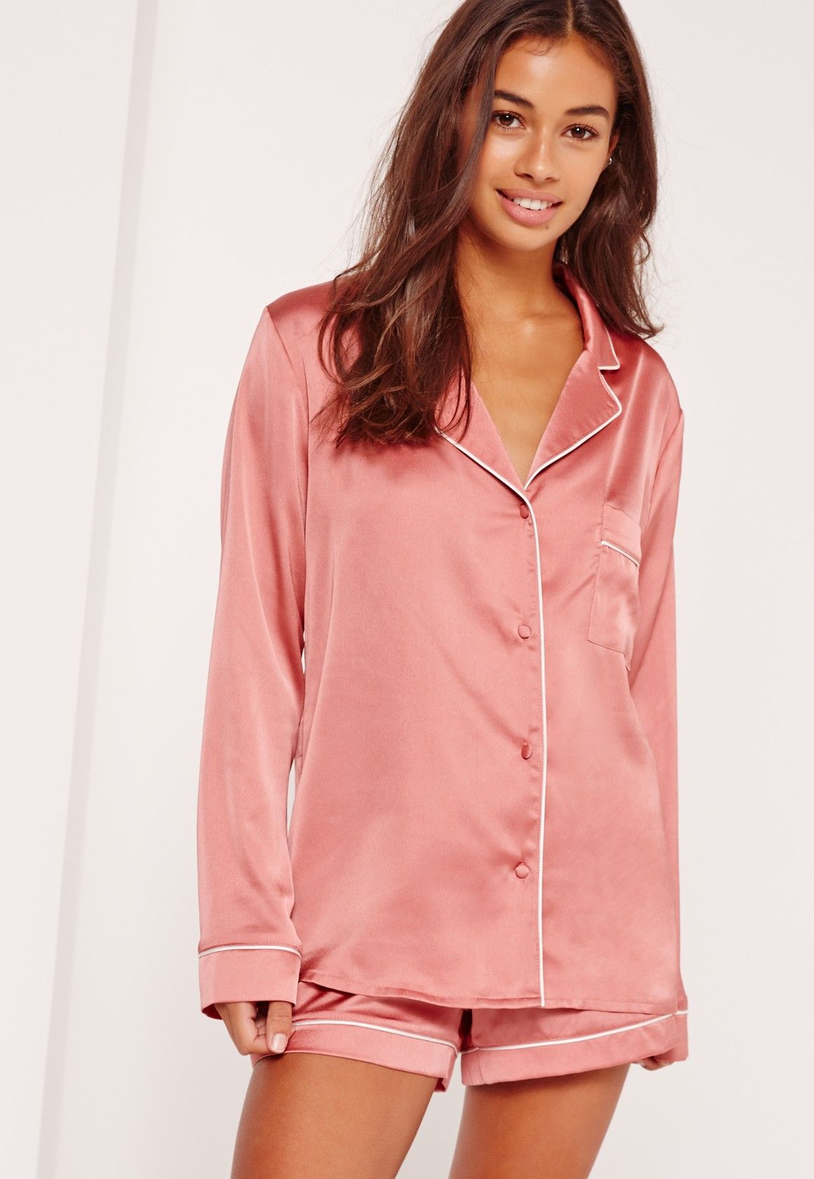 fd9889a34610 Missguided - Piping Detail Short Pyjama Set Pink