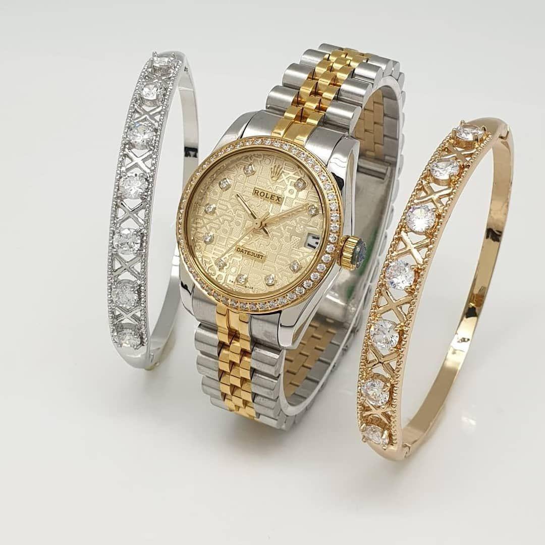 لفو الشاشه يمين Rolex رولكس ساعه رولكس نسائي درجه اولى ستانلس استيل طبق الأصل فصوص زركون ضد الماء اسوارتين فصوص زركون Bracelet Watch Accessories Watches