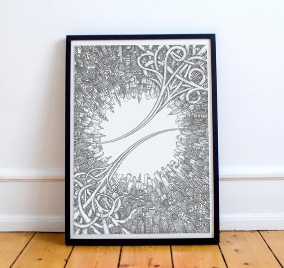 Hand Drawn Circle City Art Print, Inception Inspired Poster, Wall