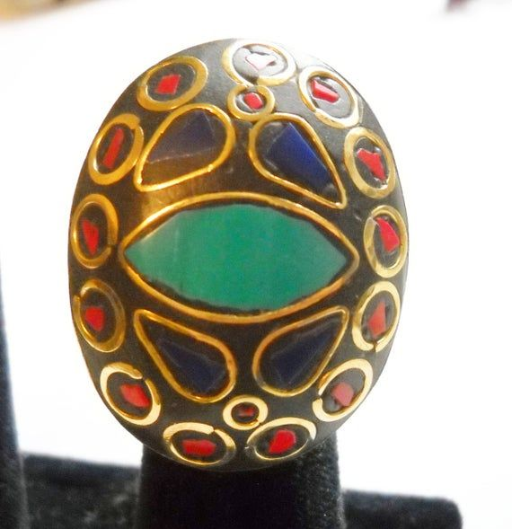 Ring Tribal Ring Large Knuckle Grazer Faux Lapis Turquoise Coral Semi Precious Stones Blue Red Black #turquoisecoralweddings