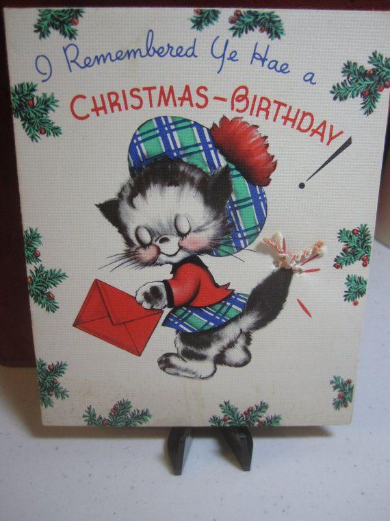 Reserved 4 Kim Adorable 1930 S 40 S Christmas Birthday Etsy Christmas Birthday Cards Christmas Birthday Birthday Cards