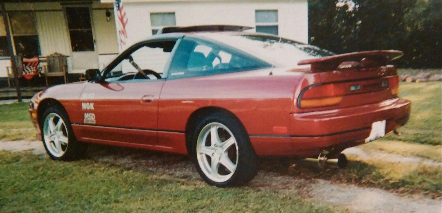 89 nissan 240sx my first 240 after replacing hatch adding wing apc muffler sunroof vent visor 17 inch konig rims with falken tires new burgandy wine  [ 1531 x 737 Pixel ]