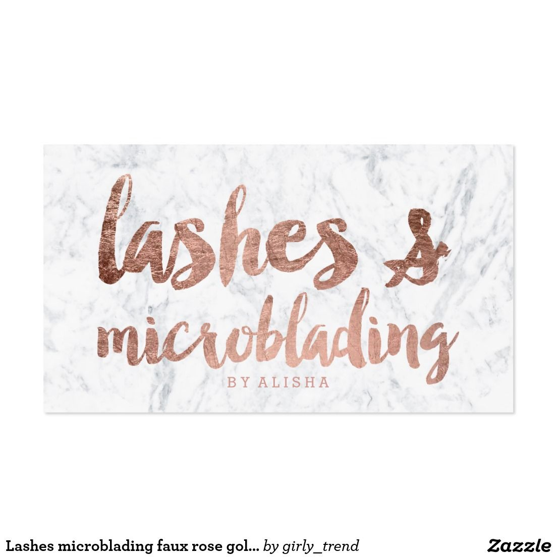 Lashes microblading faux rose gold script marble business card ...