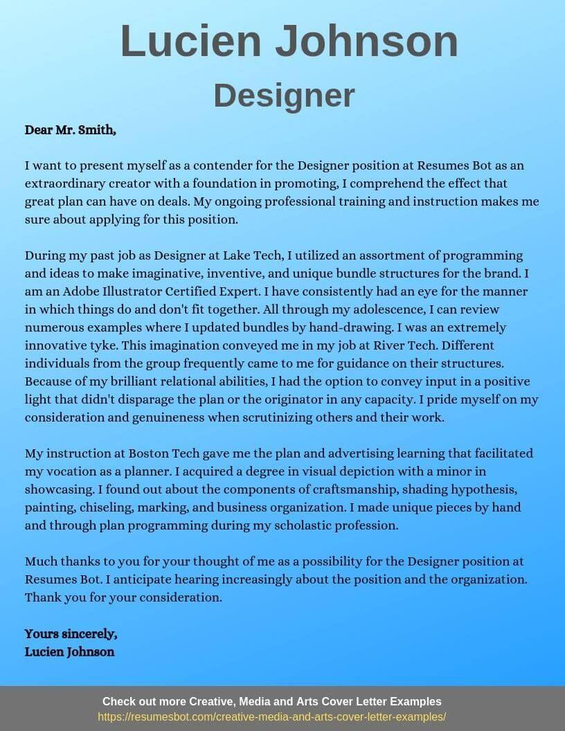 Designer Cover Letter Samples & Templates [PDF+Word] 2019