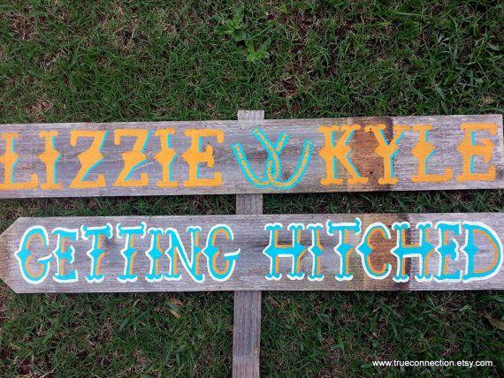 Rustic Wedding Signs Horseshoe Country Western Outdoor Weddings Hand Painted Reclaimed Wood