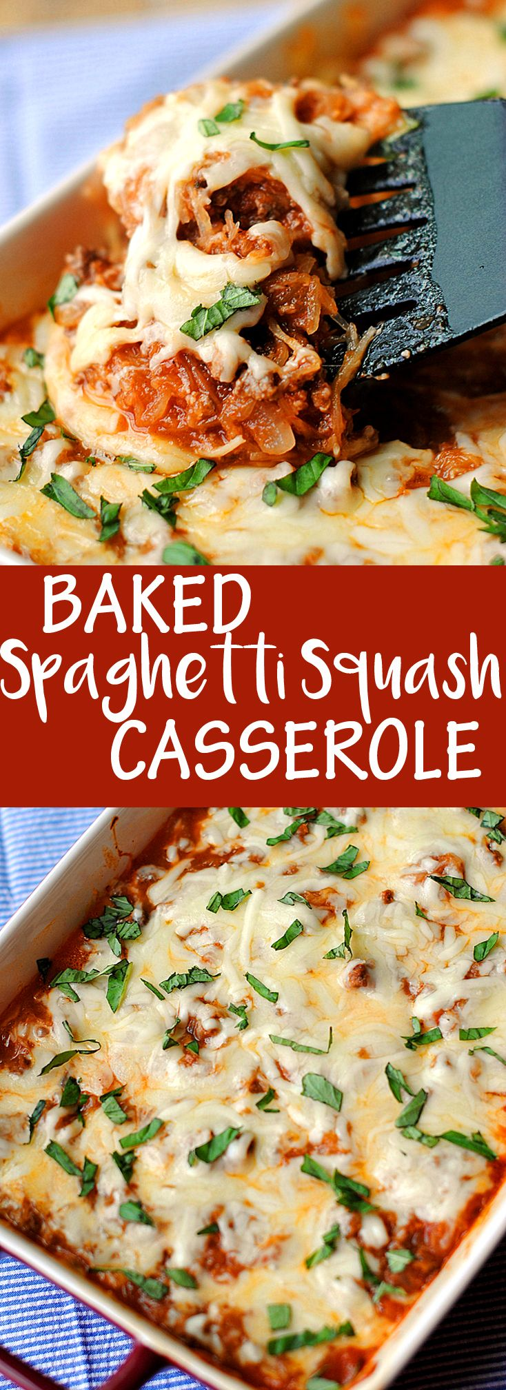 Baked Spaghetti Squash Casserole - our family's favorite! | Eat Yourself Skinny