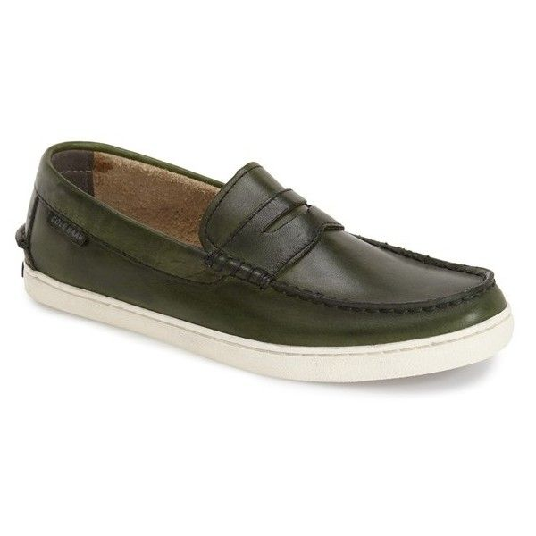 Cole Haan 'Pinch' Penny Loafer ($130) ❤ liked on Polyvore featuring men's fashion, men's shoes, men's loafers, deep forest, cole haan mens shoes, mens slip on shoes, mens slipon shoes, mens penny loafer shoes and mens shoes