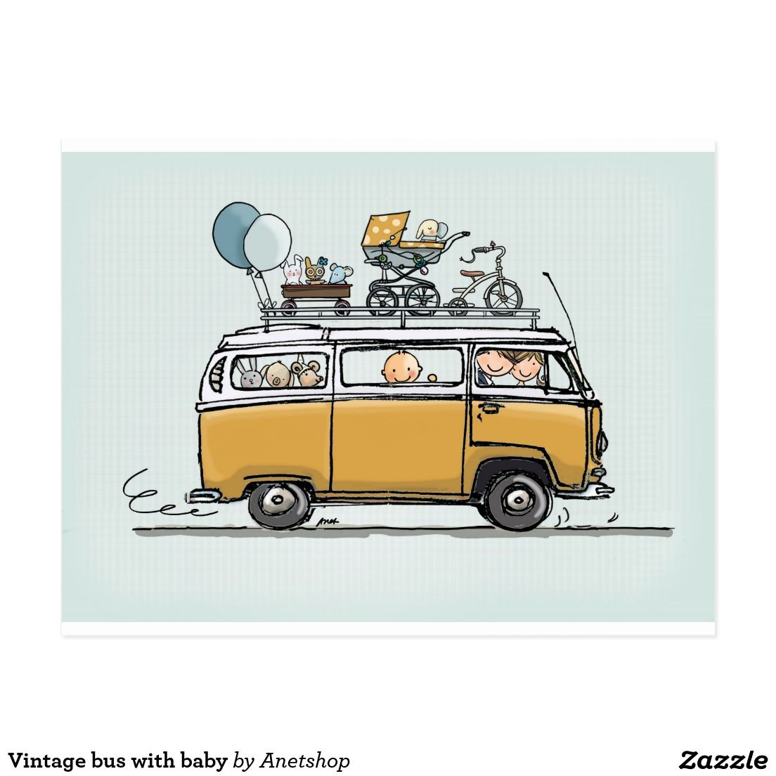 vintage volkswagen t2 bus with baby birth announcements. Black Bedroom Furniture Sets. Home Design Ideas