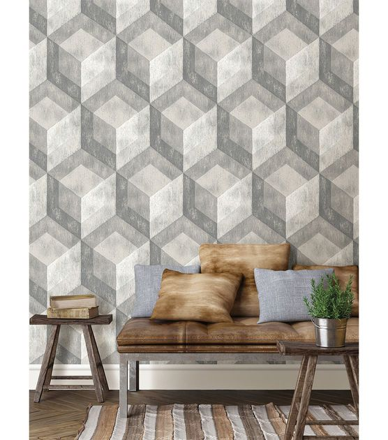 Wallpops Nuwallpaper Bauhaus Weathered Wood Peel And Stick Wallpaper Joann Jo Ann Home Wallpaper Weathered Wood Wall Coverings