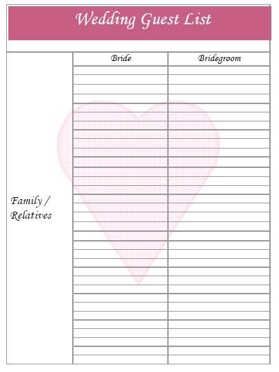 Free Printable Wedding Organizer The same happens when the most - sample wedding guest list