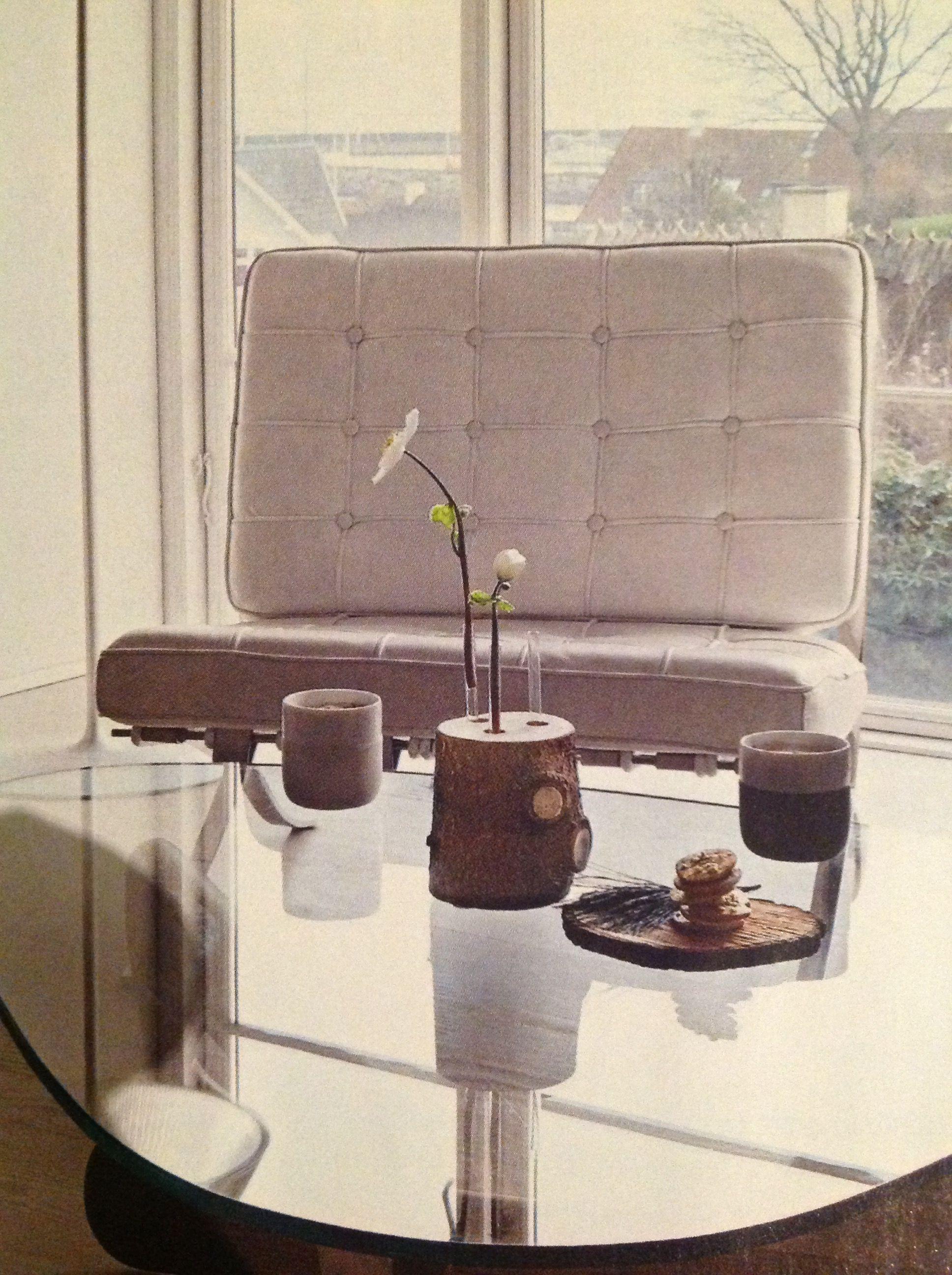 Baumstamm mit Reagenzgläsern für Blumen