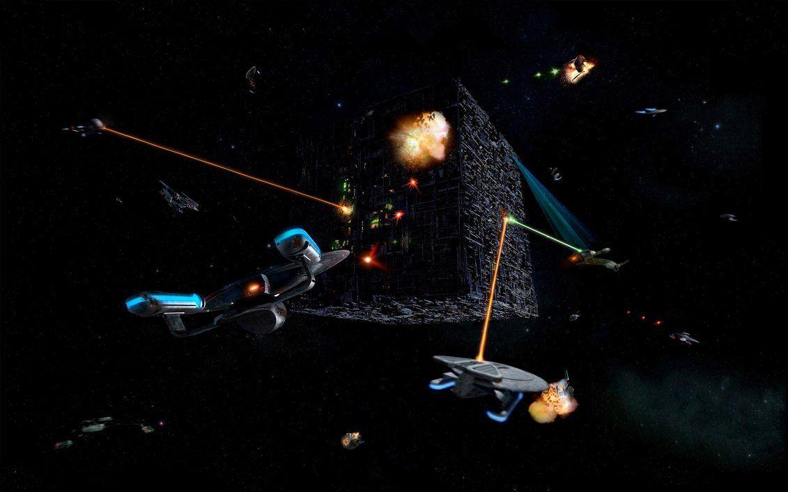 alienspaceshipcentral:    Federation fleet engaging the Borg