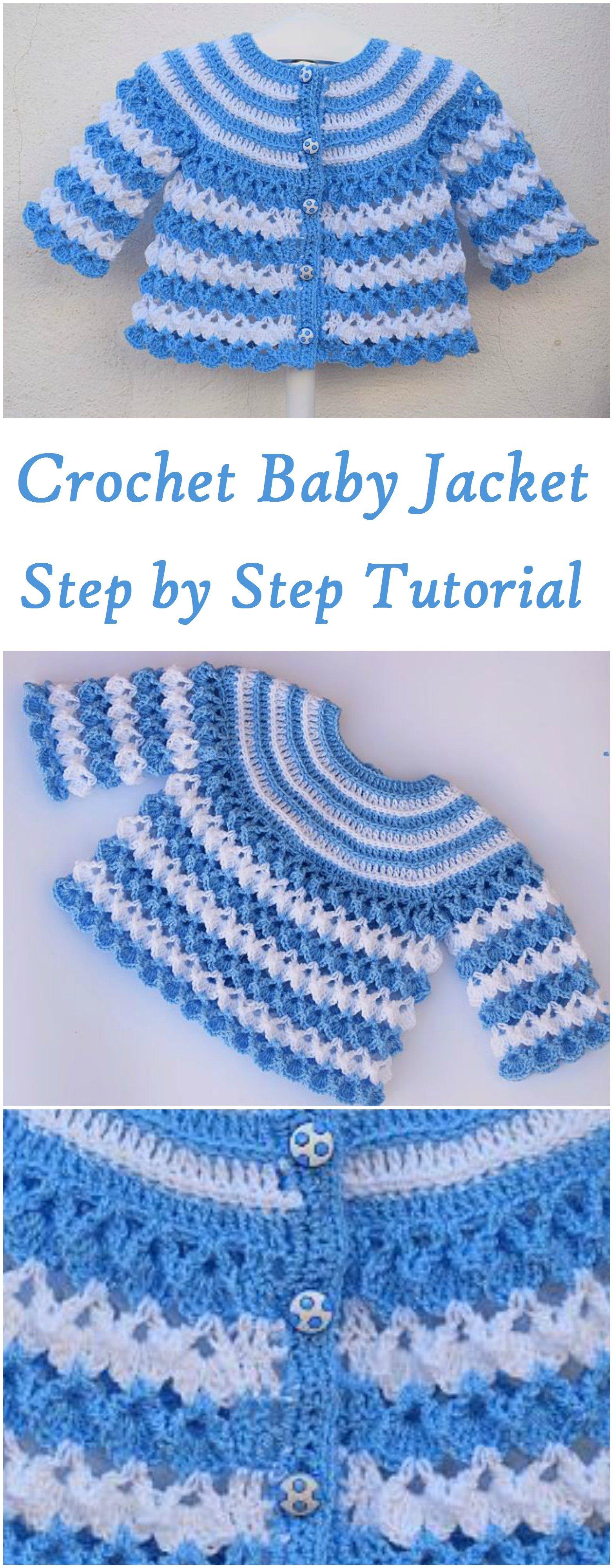 Baby Jacket Crochet Jearsy | ally | Pinterest | Häkeln, Baby jacke ...