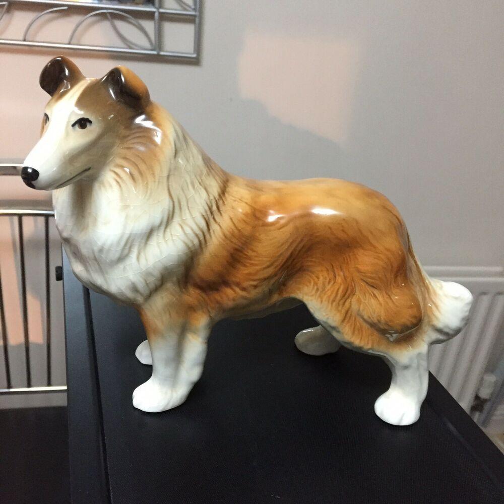 Vintage Large Coopercraft Pottery Collie Dog Figure Ebay